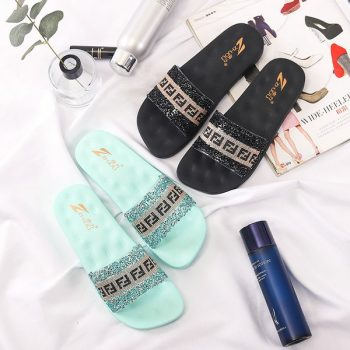 Rhinestone Studded Women's Massage Slides o021