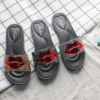 Casual Slides for Women with Lip Print 1831 o007