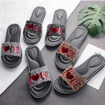 Rhinestones Studded Love Design Women's casual sandals o003
