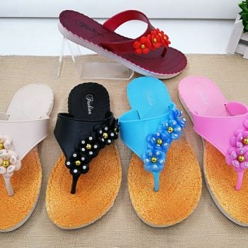 Beaded Women's Beach Flip Flops J025