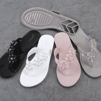Beaded Flowers Womens Jelly Flip Flops z009