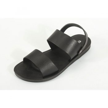 Black Leather Sandals for Men n012