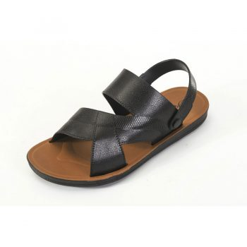 Men leather sandals black n014