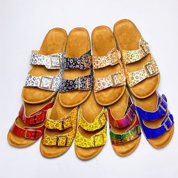 Flat sandals shiny double strapes square ring wedges heels sandals 3606-3