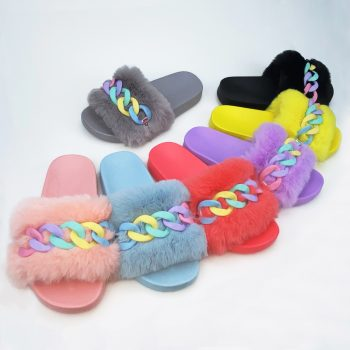 Metal chain jelly color plush outdoor sandals for ladies 3688-20