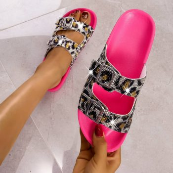 Double leopard print rhinestone strap with buckle women slides NEOS0730