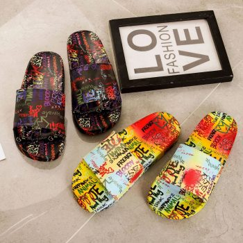 Graffiti pattern slide sandals home slippers outdoor beach lady slippers NEOS0118