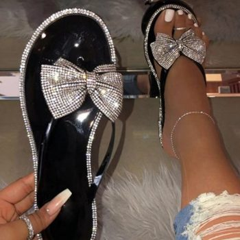 Jelly sandals shining diamond bow slides for women and ladies KTP15011