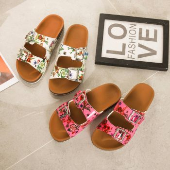 Double floral strap with buckle slide flat cork sole beach shoes NEOS0922