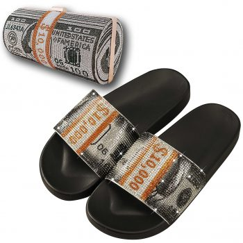Glitter sequined rhinstones dollar purse and slippers sets wholesale NEOS0222S
