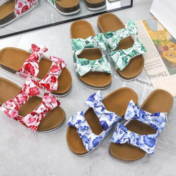 Double straps hawaii style floral bowknots slide sandals NEOS1320