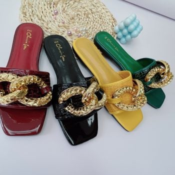 Wholesale women slides with big chain ladies slippers AL10333