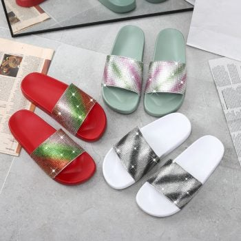 Wholesale slippers with dye diamond rainbow slide sandals NEOS2222